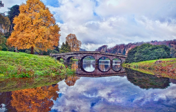 Picture autumn, the sky, clouds, trees, bridge, pond, England, England, Wiltshire