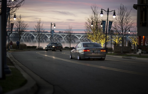 Picture trees, bridge, people, branch, street, boats, BMW, Christmas, car, 335i, tail lights, lampposts, Marina, rear, …