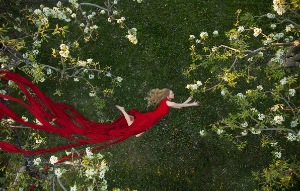 Picture girl, trees, mood, spring, garden, dress, flight, red dress, flowering, Colleen Bachmann