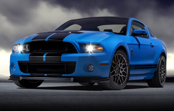Picture blue, Mustang, Ford, Shelby, GT500, Mustang, Ford, Shelby, blue, the front part, racing stripes