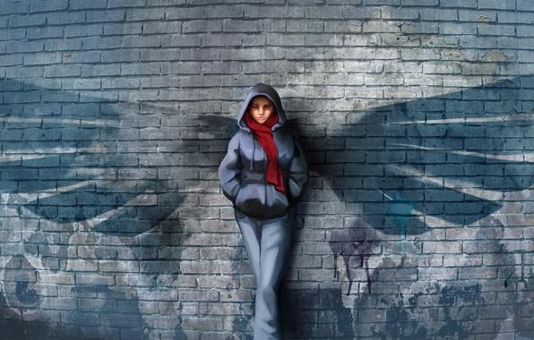 Picture girl, wall, figure, wings, scarf, art, bricks