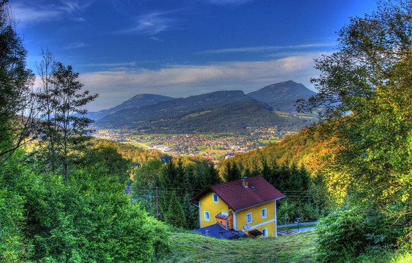 Picture autumn, the sky, the sun, mountains, field, HDR, home, Austria, panorama, forest, Hallein