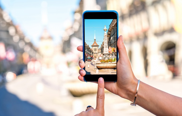 Photo wallpaper photography, blur, Switzerland, Switzerland, hi-tech, bokeh, old town, smartphone, smartphone, travel, Bern, Bern, wallpaper., technology, ...