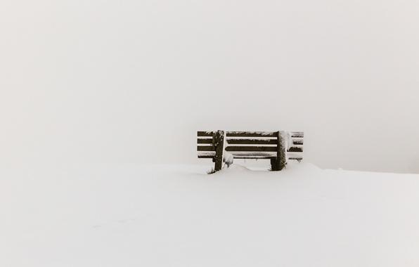 Picture snow, minimalism, bench