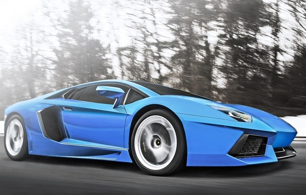 Picture Lamborghini, Speed, Blue, Speed, Supercar, LP700-4, Aventador, Supercar