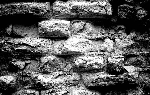 Picture background, Wall, bricks, black and white