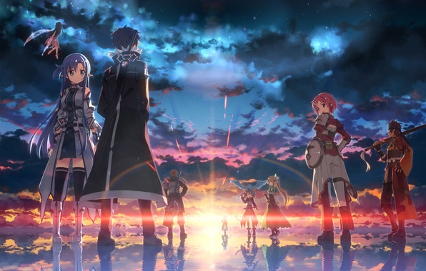 Picture look, water, sunset, smile, weapons, girls, dragon, armor, guys, art, yuuki tatsuya, sword art online