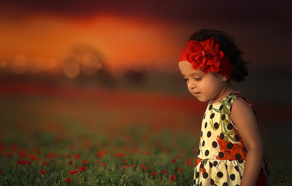 Picture flowers, mood, meadow, girl, headband