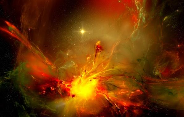 Picture space, light, stars, gas, nebula