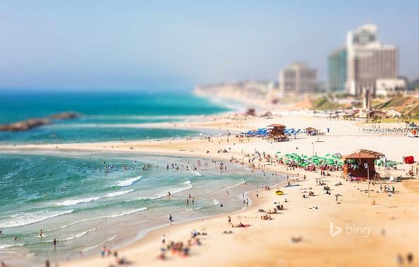 Picture sea, beach, the sky, people, home, Israel, Israel, Herzliya