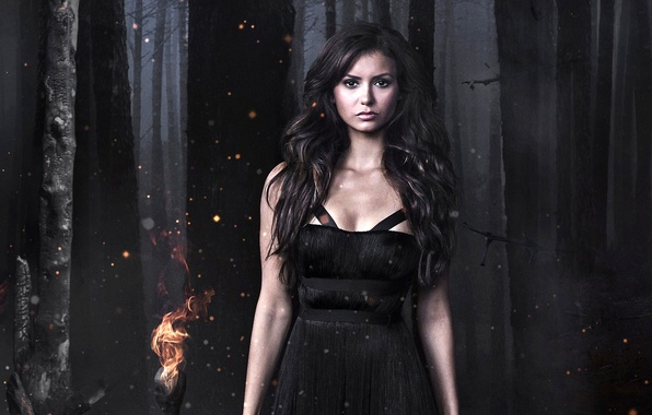 Picture forest, girl, model, dress, actress, brunette, The Vampire Diaries, Nina Dobrev, nina dobrev, The Vampire …