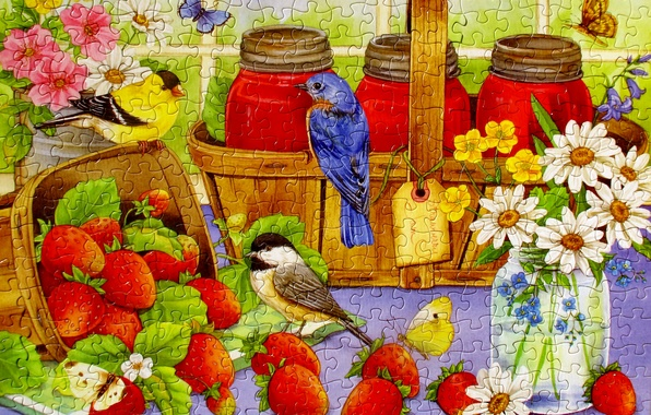 Picture flowers, bird, butterfly, strawberry, puzzles, basket