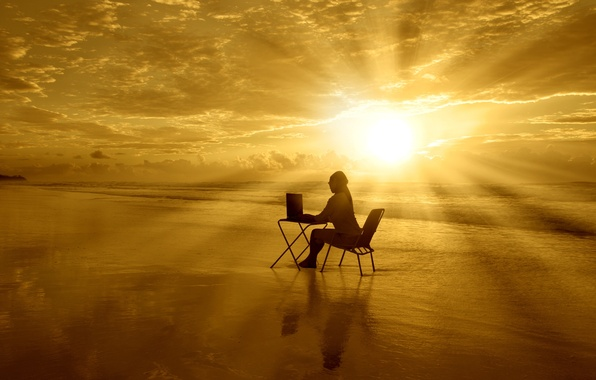 Picture sea, computer, the sky, water, girl, the sun, clouds, table, background, Wallpaper, mood, chair, widescreen, …