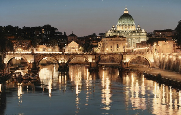 Picture bridge, the city, lights, river, Rome, Italy, art, Rod Chase, St. Peter's Cathedral, The Tiber, …