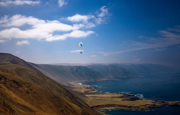 Picture sea, summer, the sky, clouds, hills, shore, pilot, solar, paraglider