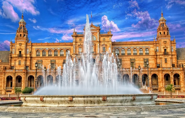 Picture the sky, fountain, Spain, Palace, Seville, Espana