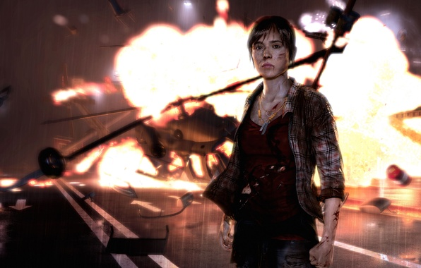 Picture road, look, the wreckage, girl, the explosion, fire, the crash, necklace, helicopter, Quantic Dream, PS3, …