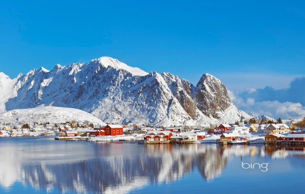 Picture winter, sea, the sky, snow, mountains, house, Norway, the village, Norway, Lofoten Islands, Pure