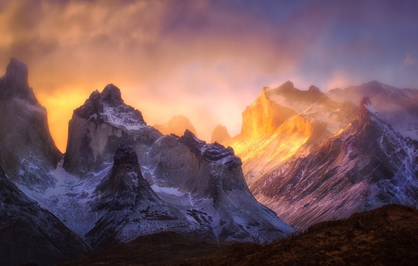 Picture light, mountains, rocks, paint