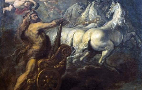 Photo wallpaper chariot, picture, mythology, angel, Jean Baptiste Borrekens, horse, The Apotheosis Of Hercules