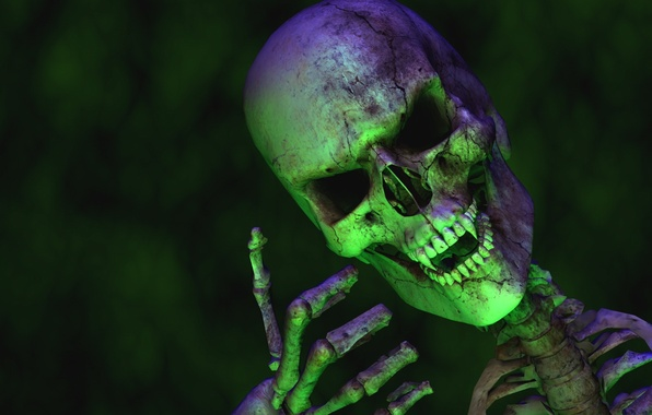 Picture green, skull, teeth, fingers