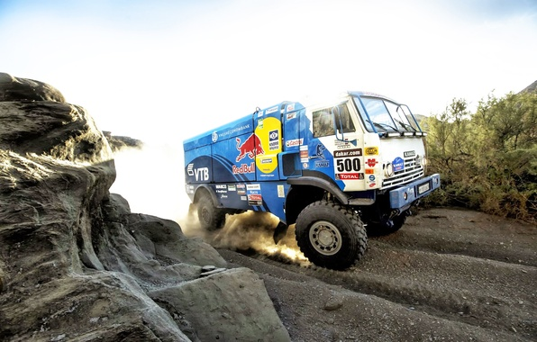 Picture Blue, Dust, Sport, Machine, Speed, Truck, Race, 500, Kamaz, Rally, Dakar, KAMAZ, red bull, 2014