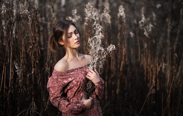 Picture Light, Red, Nature, Beautiful, Sexy, Model, White, Autumn, Female, Beauty, Face, Cute, Pretty, Hair, Dress, …