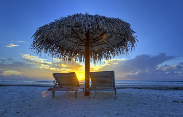 Picture sea, the sky, clouds, sunset, the evening, umbrella, chaise, canopy, The Maldives
