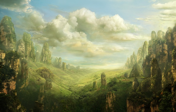 Picture landscape, rocks, landscape, valley, fantasy, art, fantasy, art, Valley, Pulpoglow