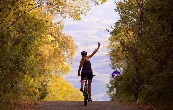 Picture girl, bike, pathway