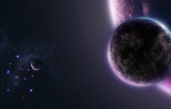 Picture space, stars, planet, space, walls, 1920x1080