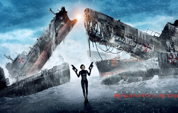 Picture winter, girl, snow, weapons, ships, Resident evil, Resident Evil, Milla Jovovich, Alice, Retribution, .Milla Jovovich, ...