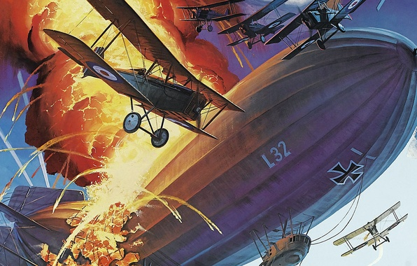 Picture the sky, fire, flame, battle, art, the airship, air, aircraft, The first world war