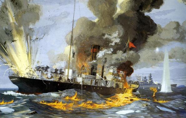 Picture sea, fire, flame, war, smoke, oil, explosions, picture, battle, steamer, canvas, cruiser, German, heavy, icebreaker, …