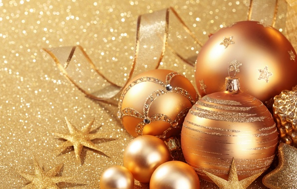 Picture decoration, gold, balls, New Year, Christmas, golden, Christmas, balls, New Year, decoration