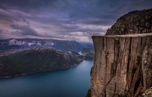 Picture landscape, nature, rock, river, Norway, rain, norway, fjord, Preikestolen
