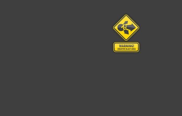 Picture creative, danger, sign, minimalism, creative, warning