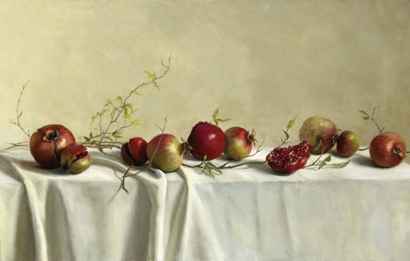 Picture leaves, branches, table, picture, art, fruit, still life, grenades, tablecloth, Mary Kay West