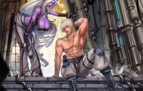 Picture chest, girl, elf, anime, art, male, guy, elf, muscles, night elf
