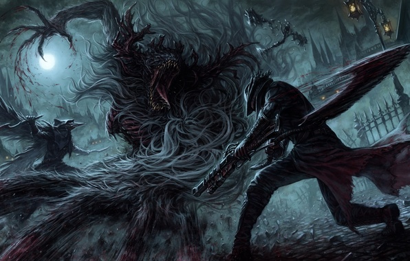 Picture night, weapons, the moon, blood, art, male, monster, the hunter, bloodborne, atelier road, cleric beast, …