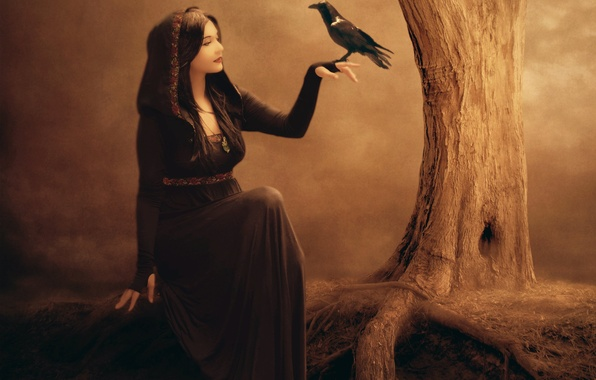 Picture girl, face, fiction, tree, bird, hand, makeup, dress, art, profile, witch, Raven, Jennifer Gelinas