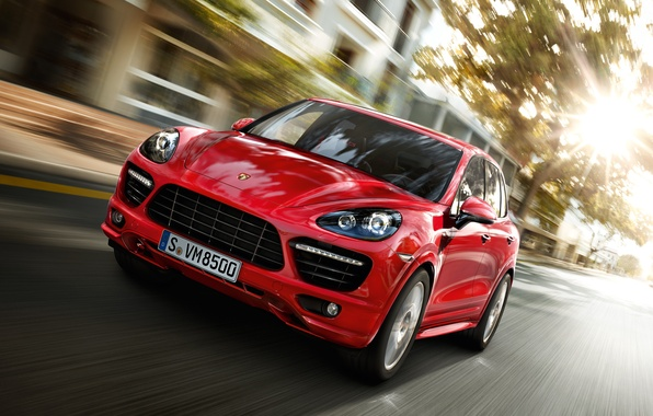 Picture road, red, the city, speed, Porsche Cayenne