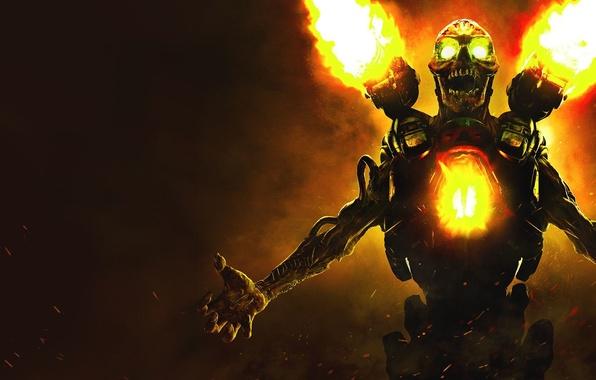 Picture Skull, Fire, Monster, Bethesda Softworks, Gun, Bethesda, DooM, id Software