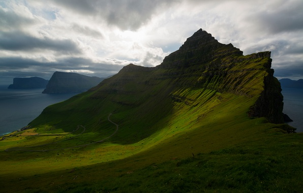 Picture greens, the sky, clouds, mountains, clouds, slope, The Atlantic ocean, Faroe Islands, The Kingdom Of …