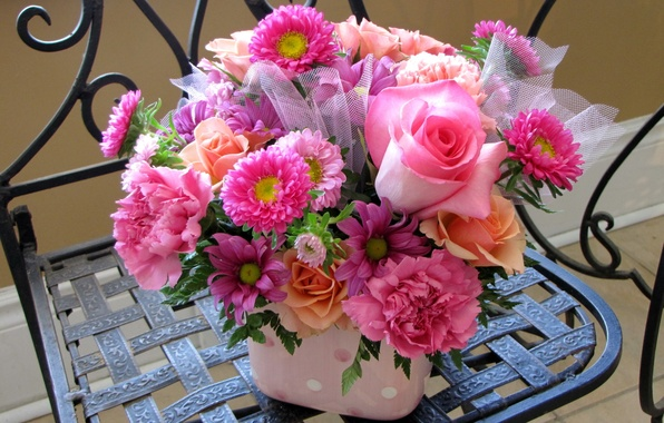Picture flower, flowers, roses, bouquet, pink, clove