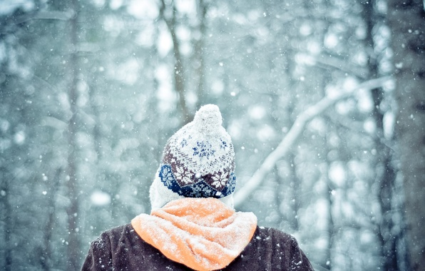 Picture winter, forest, snow, mood, hat, people, guy