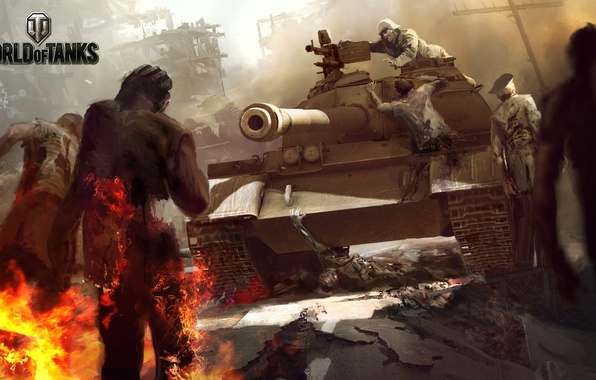 Picture Fire, Flame, Tank, Zombies, WoT, World of Tanks, World Of Tanks, Wargaming Net
