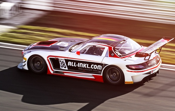 Picture race, Mercedes, in motion, race, mercedes sls, the competition, FIA GT, Moscow Raceway