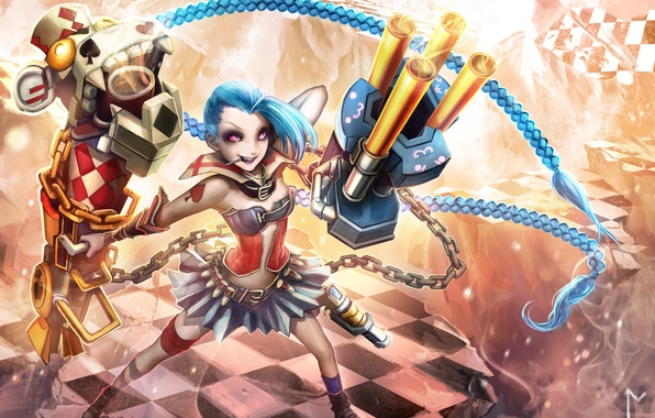 Picture girl, smile, weapons, magic, art, league of legends, gevurah-studios, jinx