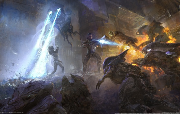 Picture weapons, battle, soldiers, soldiers, plasma, Shepard, game wallpapers, ME 2, Shepard, Mass effect 2